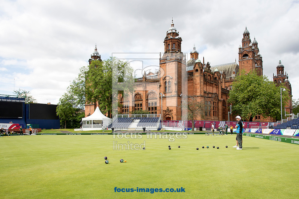 A General view of the Kelvingrove Lawn Bowls centre prior to the Glasgow 2014 Commonwealth Games at Glasgow City, Glasgow.<br /> Picture by Paul Terry/Focus Images Ltd +44 7545 642257<br /> 21/07/2014