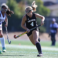 (Photograph by Bill Gerth for SVCN) Los Gatos #4 Sophia Grant-Counard vs Monta Vista in a Girls Field Hockey Game at Monta Vista High School, Cupertino CA on 9/16/16.  (Los Gatos 10 Monta Vista 0)