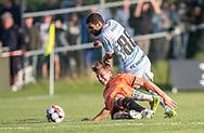 Marinus Due Grandt (Hillerød) kæmper med Daniel Norouzi (FC Helsingør) under kampen i 2. Division mellem Hillerød Fodbold og FC Helsingør den 21. august 2019 på Hillerød Stadion (Foto: Claus Birch).