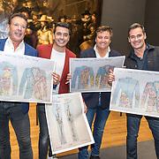 NLD/Amsterdam/20190507 - Toppers in het Rijksmuseum, Jan Smit,Gerard Joling,, Rene Froger en Jeroen van der Boom met de kleding ontwerpen van dit jaar gebaseerd op de Nachtwacht