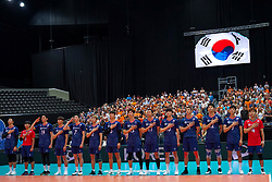 09-08-2019 NED: FIVB Tokyo Volleyball Qualification 2019 / Netherlands, - Korea, Rotterdam<br /> First match pool B in hall Ahoy between Netherlands - Korea (3-2) for one Olympic ticket / Team Korea, line up