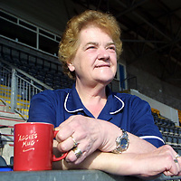 St Johnstone football squad cook and tea lady Aggie Moffat who had a famous falling out with Graeme Souness...is appearing in a TV programme where she says she will thump him if she ever meets him again<br />See story by Gordon Bannerman Tel: 01738 493213<br /><br />Picture by Graeme Hart<br />Copyright Perthshire Picture Agency<br />Tel: 01738 623350  Mobile: 07990 594431