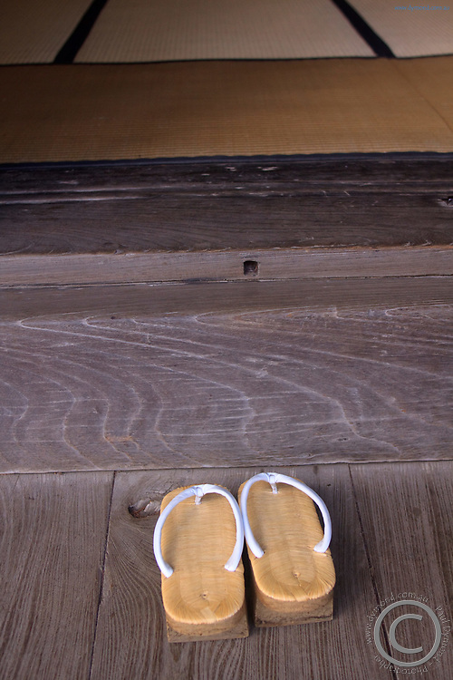 A pair of monk's sandals at Narita Jinja (Shrine) , a large Shinto shrine in the heart of Narita CIty, Japan