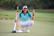Tommy Fleetwood of England poses with the Race to Dubai trophy after the European Tour DP World Championship at Jumeirah Golf Estates, Dubai, UAE on 19 November 2017. Photo by Grant Winter.