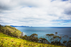 View from Tollymore Road, Table Cape towards Boat Harbour, Tasmania.