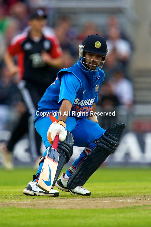 31.08.2011 Natwest International T20 England v India from Old Trafford. Ajinkya Rahane takes a run for India.