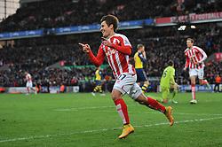 Stoke's Bojan Krkic celebrates his goal. - Photo mandatory by-line: Dougie Allward/JMP - Mobile: 07966 386802 - 06/12/2014 - SPORT - Football - Stoke - Britannia Stadium - Stoke City v Arsenal - Barclays Premie League