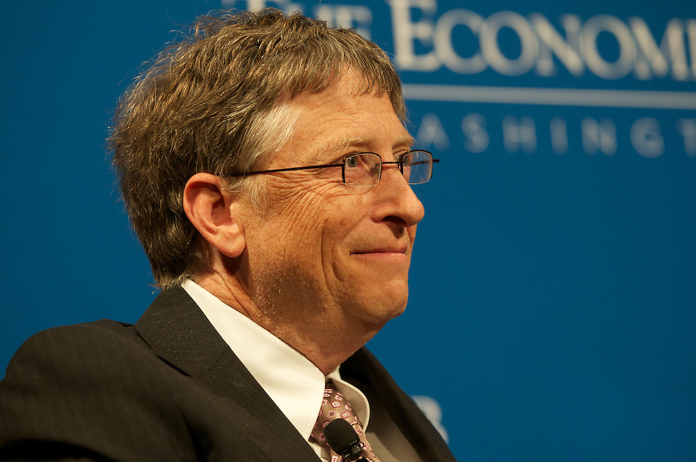 Bill Gates speaks to the members of the Economic Club of Washington at The Ritz Carlton Washington DC