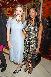 Left to right, AMBER ATHERTON and SHARMADEAN REID at the 3rd anniversary party of Sushisamba at the Heron Tower, 110 Bishopsgate, City of London on 10th November 2015.