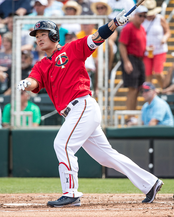 FORT MYERS, FL- FEBRUARY 27: ByungHo Park #52 of the Minnesota Twins bats and hits a home run against the Miami Marlins on February 27, 2017 at the CenturyLink Sports Complex in Fort Myers, Florida. (Photo by Brace Hemmelgarn) *** Local Caption *** ByungHo Park