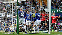 Photo: Paul Thomas.<br /> Everton v Manchester United. The Barclays Premiership. 28/04/2007.<br /> <br /> Phil Neville (18), of Everton and old Utd player, puts the ball into his own net after a Cristiano Ronaldo (Utd) header at goal.