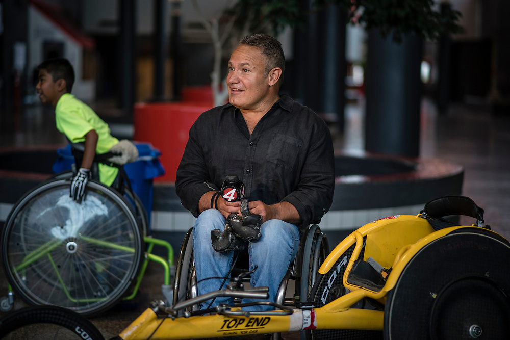 rer060717e/A1/June 07, 2017/Albuquerque Journal<br /> International wheelchair racer Brad Ray(cq) was on hand to address campers at Camp Adventure Wednesday morning at La Cueva High School.  Camp Adventure is reserved for children ages 6 to 12 with disabilities. <br />  Roberto E. Rosales/Albuquerque Journal