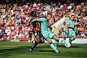 Clayton Donaldson of Bradford City tries to get round Byron Webster of Carlisle United during the EFL Sky Bet League 2 match between Bradford City and Carlisle United at the Utilita Energy Stadium, Bradford, England on 21 September 2019.