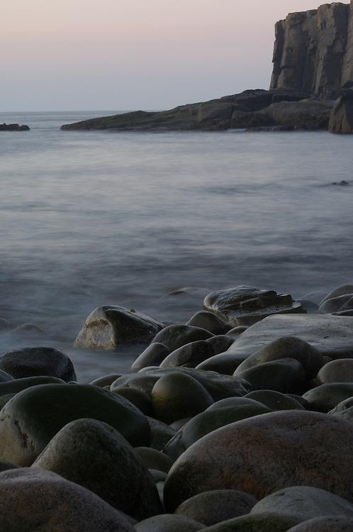 Otter Cliffs Boulder Beach, Bar Harbor, ME (US) shot at slow shutter speed to render water soft like mist