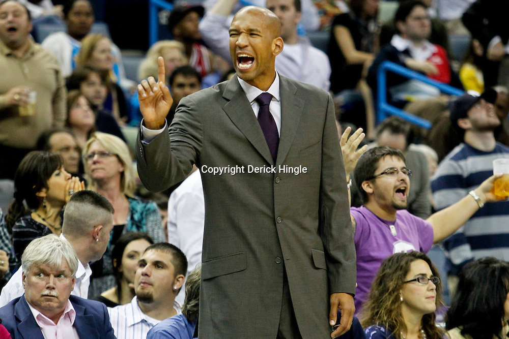 December 30, 2011; New Orleans, LA, USA; New Orleans Hornets head coach Monty Williams argues an officials call during the fourth quarter of a game against the Phoenix Suns at the New Orleans Arena. The Suns defeated the Hornets 93-78.   Mandatory Credit: Derick E. Hingle-US PRESSWIRE