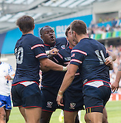 Brighton, Great Britain, Try score, Chris WYLES [No.11] celebrates his try with team mates at the Samoa vs USA, 2015 Rugby World Cup, played at the Brighton Community Stadium, ENGLAND. Sunday  20/09/2015   [Mandatory Credit; Peter Spurrier/Intersport-images]