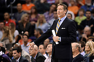 Nov 15, 2013; Phoenix, AZ, USA; Phoenix Suns head coach Jeff Hornacek  reacts on the sidelines in the the game against the Brooklyn Nets at US Airways Center. The Nets defeated the Suns 100-98 in overtime. Mandatory Credit: Jennifer Stewart-USA TODAY Sports