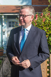 London, July 3rd 2016. Tory Party leadership hopeful Michael Gove leaves his west London home to appear on the BBC's Andrew Marr Show.