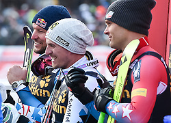 17.12.2016, Saslong, St. Christina, ITA, FIS Ski Weltcup, Groeden, Abfahrt, Herren, Siegerehrung, im Bild v.l. Aksel Lund Svindal (NOR, 2. Platz), Max Franz (AUT, 1. Platz), Steven Nyman (USA, 3. Platz) // f.l. second Placed Aksel Lund Svindal of Norway, race winner Max Franz of Austria, third placed Steven Nyman of the USA during the winner Ceremony for the men's downhill of FIS Ski Alpine World Cup Saslong race course in St. Christina, Italy on 2016/12/17. EXPA Pictures © 2016, PhotoCredit: EXPA/ Erich Spiess