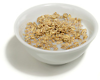 bowl of granola with milk