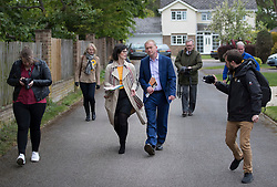© Licensed to London News Pictures. 03/05/2017. Kidlington, UK. Local Lib Dem candidate Layla Moran walks with party leader Tim Farron during a campaign stop in a residential street in Kidlington. Photo credit: Peter Macdiarmid/LNP