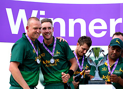 Stuart Broad and Luke Fletcher of Nottinghamshire celebrate winning the Royal London One-Day cup - Mandatory by-line: Robbie Stephenson/JMP - 01/07/2017 - CRICKET - Lord's Cricket Ground - London, United Kingdom - Nottinghamshire v Surrey - Royal London One-Day Cup Final 2017