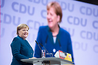 07 DEC 2018, HAMBURG/GERMANY:<br /> Angela Merkel, CDU, Bundeskanzlerin, haelt Ihre letzte Rede als Parteivorsitzende, CDU Bundesparteitag, Messe Hamburg<br /> IMAGE: 20181207-01-013<br /> KEYWORDS: party congress, speech