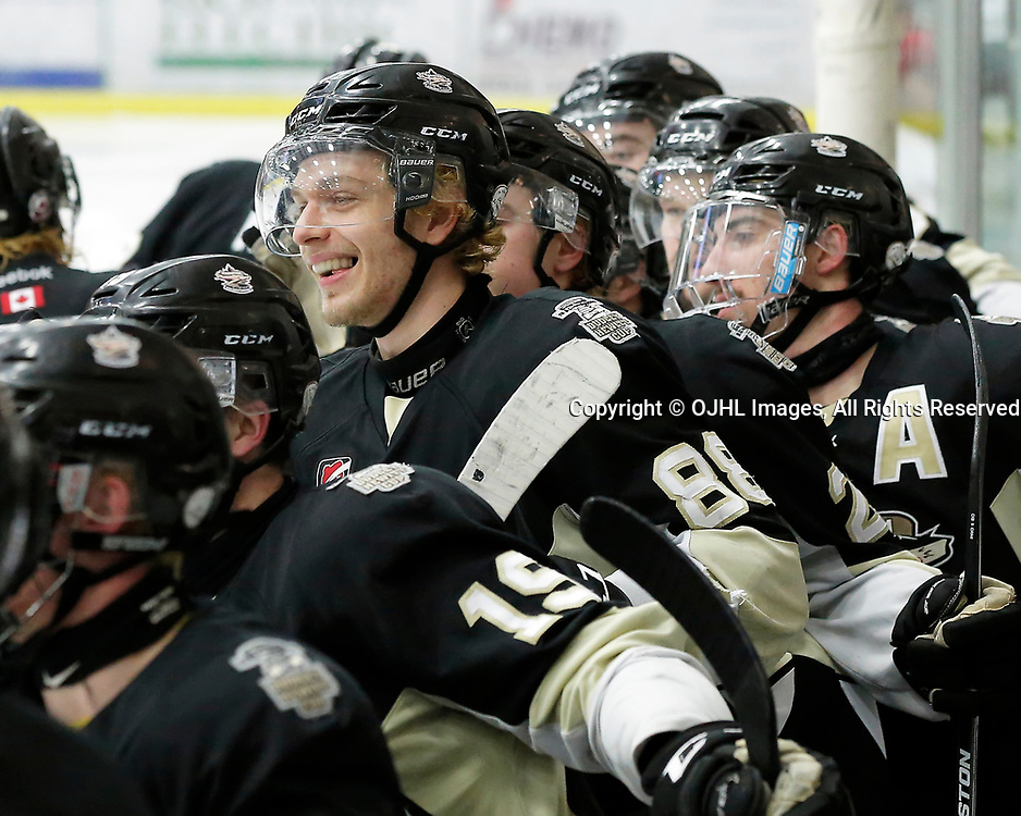 COBOURG, ON - APR 6,  2017: Ontario Junior Hockey League, North East Conference Championship game between Trenton Golden Hawks and the Cobourg Cougars. Michael Silveri #88 of the Trenton Golden Hawks during the third period<br /> (Photo by Amy Deroche / OJHL Images)