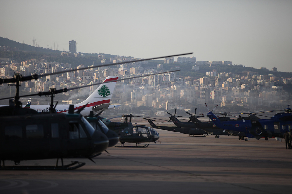 Lebanese army helicopters at Beirut's airport ready to take to the air and provide security for Ahmadinejad's visit.
