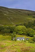 Quaint farm smallholding in rural mountain scene near Lochranza on Isle of Arran, Scotland