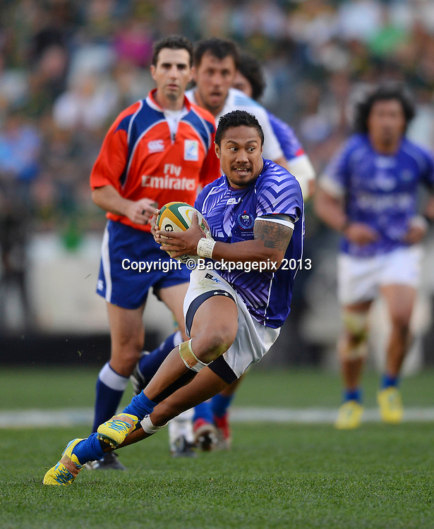 Brando Vaaulu of Samoa on his way to scoring a try during the 2013 Castle Incoming Tour rugby match between Samoa and Italy at Mbombela Stadium in Nelspruit, South Africa on June, 15 2013 ©Barry Aldworth/BackpagePix
