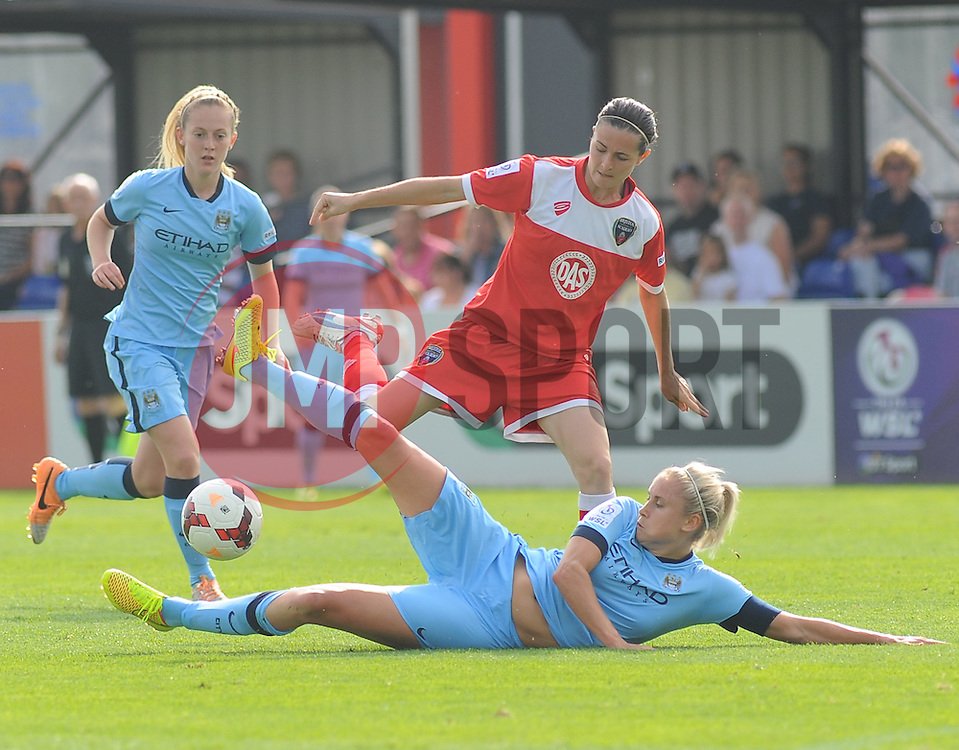 Manchester City Womens' Steph Houghton goes in for a challenge. - Photo mandatory by-line: Nizaam Jones- Mobile: 07583 387221 - 28/09/2014 - SPORT - Women's Football - Bristol - SGS Wise Campus - BAWFC v Man City Ladies - sport