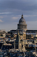 France. Paris.  Elevated view. Paris, the Pantheon and Saint Severin church . view from the Sainte Chapelle