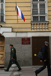 April 4, 2017 - Saint Petersburg, Russia - April 4, 2017. - Russia, Saint Petersburg. - The Russian state flag is flying at half-mast over the General Staff Building in memory of those killed in the April 3 St. Petersburg metro explosions. (Credit Image: © Russian Look via ZUMA Wire)