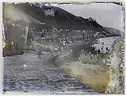 eroding glass plate with beach front view
