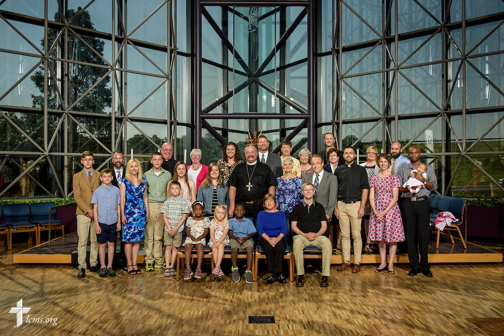 Group photograph of new missionaries at the International Center of The Lutheran Church–Missouri Synod on Monday, June 13, 2016, in Kirkwood, Mo. LCMS Communications/Erik M. Lunsford