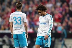 16.04.2016, Allianz Arena, Muenchen, GER, 1. FBL, FC Bayern Muenchen vs Schalke 04, 30. Runde, im Bild Roman Neustaedter ( FC Schalke 04 ) Leroy Sane ( FC Schalke 04 ) nach der Niederlage // during the German Bundesliga 30th round match between FC Bayern Munich and Schalke 04 at the Allianz Arena in Muenchen, Germany on 2016/04/16. EXPA Pictures © 2016, PhotoCredit: EXPA/ Eibner-Pressefoto/ Langer<br /> <br /> *****ATTENTION - OUT of GER*****