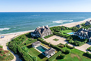 Aerial, La Dune, Beach front home designed by Stanford White, 376 Gin Lane, Southampton, NY  A wonderful example of the Golden Age of the shingled beach house also know as  Bonnie Dune, Constructed in 1888 by Robert Olyphants
