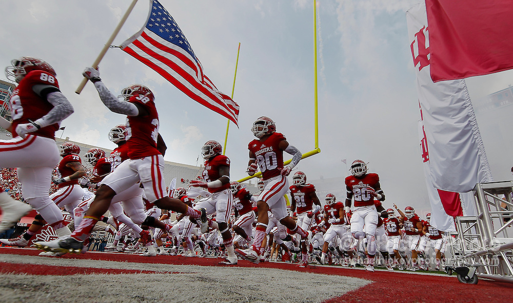 BLOOMINGTON, IN - SEPTEMBER 5: Members of the Indiana Hoosiers take the field before the game against the Southern Illinois Salukis at Memorial Stadium on September 5, 2015 in Bloomington, Indiana. (Photo by Michael Hickey/Getty Images)