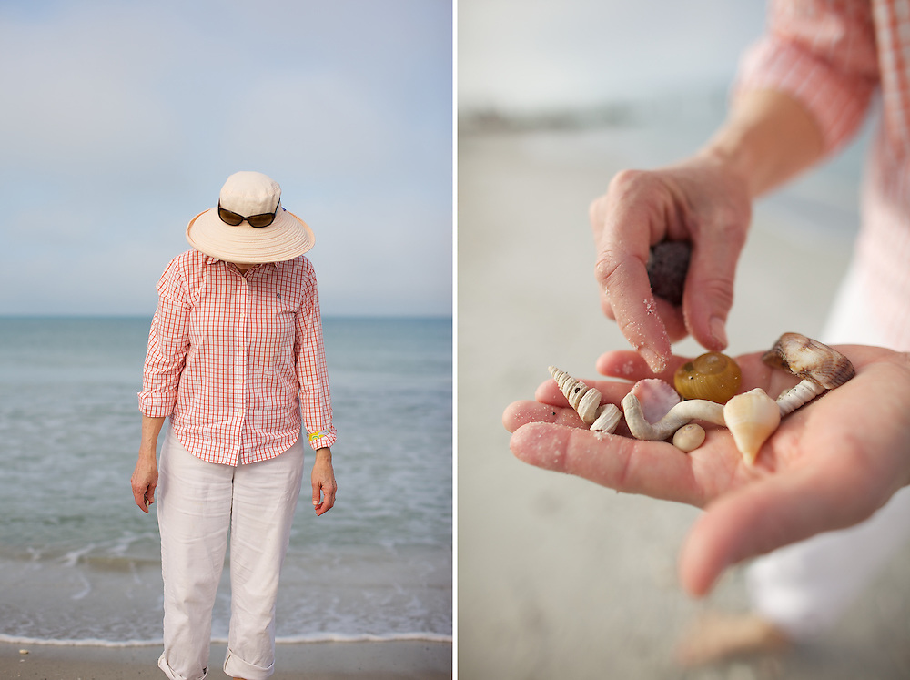"A woman looks for shells during an early morning walk along Naples Beach, Naples, FL.  Photographed for Smithsonian Magazine as a profile for their annual ""Best Small Towns in America,"" issue."