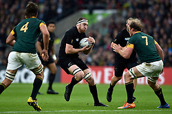 Brodie Retallick of New Zealand in possession - Mandatory byline: Patrick Khachfe/JMP - 07966 386802 - 24/10/2015 - RUGBY UNION - Twickenham Stadium - London, England - South Africa v New Zealand - Rugby World Cup 2015 Semi Final.