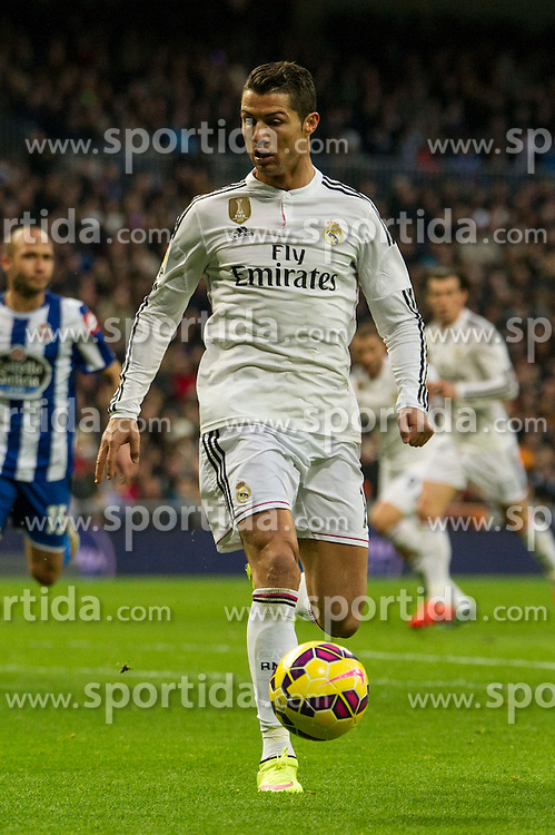 14.02.2015, Estadio Santiago Bernabeu, Madrid, ESP, Primera Division, Real Madrid vs Deportivo La Coruna, 23. Runde, im Bild Real Madrid&acute;s Cristiano Ronaldo // during the Spanish Primera Division 23rd round match between Real Madrid vs Deportivo La Coruna at the Estadio Santiago Bernabeu in Madrid, Spain on 2015/02/14. EXPA Pictures &copy; 2015, PhotoCredit: EXPA/ Alterphotos/ Luis Fernandez<br /> <br /> *****ATTENTION - OUT of ESP, SUI*****