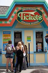 A group of females wait in line for tickets, Santa Cruz Boardwalk, Santa Cruz, California, United States of America