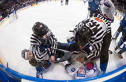 Atte Ohtamaa of Finland and Kristian Forsberg of Norway during the 2017 IIHF Men's World Championship group B Ice hockey match between National Teams of Norway and Finland, on May 13, 2017 in AccorHotels Arena in Paris, France. Photo by Vid Ponikvar / Sportida