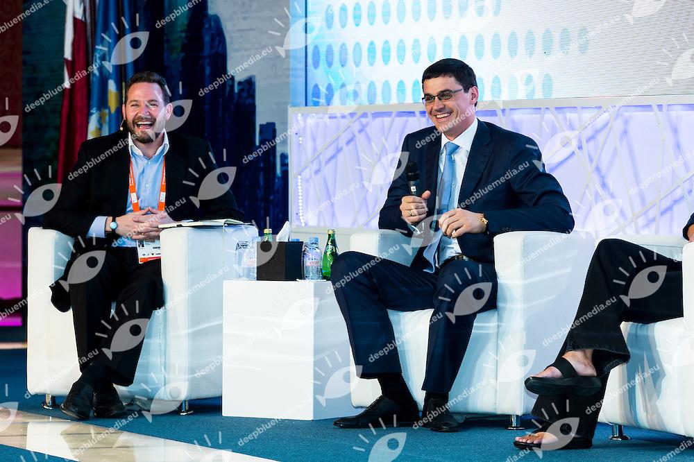 James Hickman, Global Sports Marketing Manager, Speedo; Alexander Popov, 4 time Olympic gold<br /> FINA 3rd World Aquatics Convention<br /> Day 2 - Nov. 30th<br /> Doha (Qatar) 28 -30 Nov. 2014<br /> Photo Giorgio Scala / Deepbluemedia