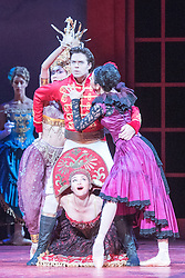 © Licensed to London News Pictures. 08/07/2015. London, UK. Inspired by the Brothers Grimm fairy tale, Christopher Wheeldon has created a dream-like ballet, set to Prokofiev's magnificent score – performed live by the Royal Ballet Sinfonia – and full of lavish sets and costumes by Julian Crouch, and stunning stage effects. Picture features Matthew Golding as Prince Guillaume, with Maria Chugai, Victoria Ananyan and Maiko Tutsumi as the Princesses. Photo credit : Tony Nandi/LNP