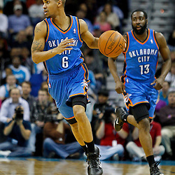 January 24,  2011; New Orleans, LA, USA; Oklahoma City Thunder point guard Eric Maynor (6) against the New Orleans Hornets during the second half at the New Orleans Arena. The Hornets defeated the Thunder 91-89. Mandatory Credit: Derick E. Hingle