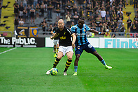 2019-09-01 | Solna, Sweden: AIKs (3) Per Karlsson and Djurgårdens IF (77) Mohamed Buya Turay during the game between AIK and Djurgårdens IF at Friends Arena ( Photo by: Simon Holmgren | Swe Press Photo )<br /> <br /> Keywords: Friends Arena, Solna, Soccer, Allsvenskan, AIK, Djurgårdens IF