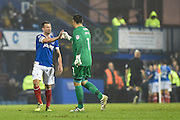 Portsmouth Goalkeeper, David Forde (1) and Portsmouth Midfielder, Michael Doyle (8) celebrate Portsmouth Forward, Noel Hunt (20) goal 2-0 during the EFL Sky Bet League 2 match between Portsmouth and Mansfield Town at Fratton Park, Portsmouth, England on 12 November 2016. Photo by Adam Rivers.