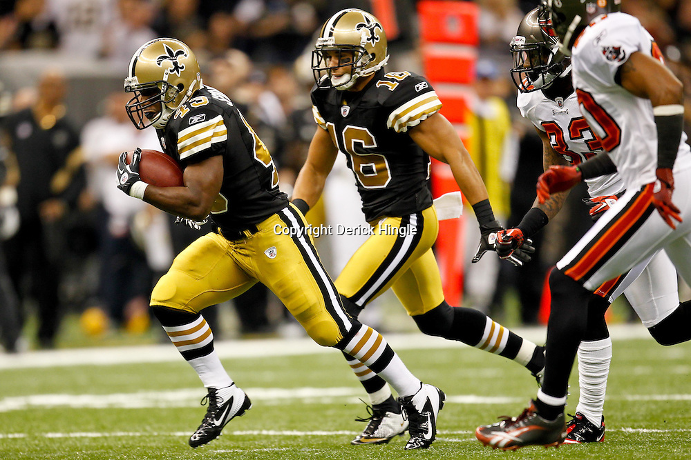 November 6, 2011; New Orleans, LA, USA; New Orleans Saints running back Darren Sproles (43) against the Tampa Bay Buccaneers during the first quarter of a game at the Mercedes-Benz Superdome. Mandatory Credit: Derick E. Hingle-US PRESSWIRE